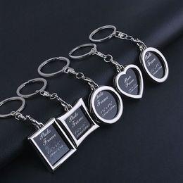 Molduras ovais on-line-Mini Coração Quadrado Rodada Moldura Oval Inserir Moldura Chaveiro Moldura Chaveiro Chaveiro Para Presentes Amante