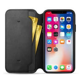 Wholesale Leather Folio Wallet - Original Leather Folio Wallet Case with Logo for iPhone X Official Flip Smart Phone With Card Slot Cover for Apple iPhone X 8 7 6 6S Plus
