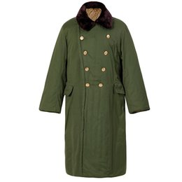 dfd7f6779d9 Discount military coat buttons men - Winter Trench Coats cotton casual  thick long coat army green