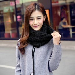 7058b24c80 2017 Knitted Scarf Women Pure Neck Woolen Scarf Autumn Winter Women Warm  Shawls 2 Circle Cable Knit Long Ring Scarves