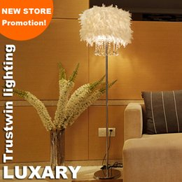 Wholesale Floor Shade - New store promotion home family hotel decoration with feather shade LED floor light crystal floor lamp