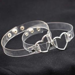 O anillo de collar online-Metal amor corazón o anillo choker collar pu collar de cuello transparente para las mujeres esclavos jugar gargantillas joyería gota shiping