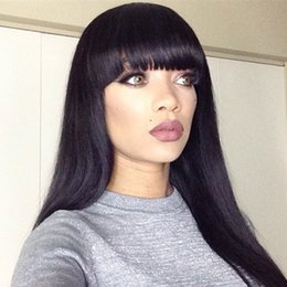 Wholesale Lace Front Wigs Fringe - New Arrival Peruvian Human Hair Full Fringe Wig Human Hair Glueless Full Lace Wig With Bangs Bleached Knots For Black Women