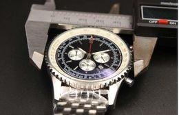 Wholesale Quartz Store - AAA watch store jason007 Luxury Brand watch men navitimer A35340 black Dial Stainless Steel quartz chronograph Watch Mens dive Watches