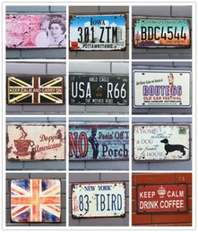 Wholesale Vintage Tin Motorcycle - Retro License Plate Metal different themes beer garage warning Motor Vintage Craft Tin Sign Retro Metal Painting Poster Bar Pub Wall Art