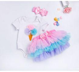 Wholesale Birthday Pettiskirt - Tutu Baby Birthday Set Summer Short Sleeve Romper Pettiskirt Girls 3 Pcs Clothing Sets 2018 New Arrival