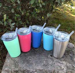 Wholesale Lid Straw - 2018 Hot Sale 12oz Wine Glasses Stainless Steel Tumbler 8.5oz Cups Travel Vehicle Beer Mugs Non-Vacuum Mugs with Straws&lids