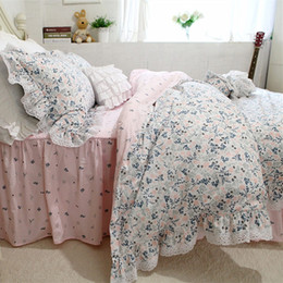 Wholesale White Queen Bedding Ruffle - New dobby print bedding set lace ruffle duvet cover home bed sheet set bedspread bed cover fashion bedding full cotton fabric