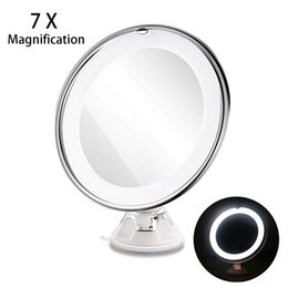 Wholesale Magnifying Lighted Makeup Mirror - LED 7X Magnifying Makeup Mirror with Power Locking Suction Cup Bright Diffused Light and 360 Degree Rotating Adjustable Arm