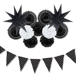 Wholesale Baby Shower Stars - 12pc (Black ,White )Paper Decoration Set Party Decor Paper Fans Stars For Birthday Party Wedding Baby Showers Garden Space Decor
