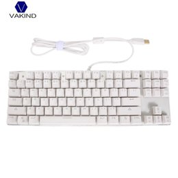 Wholesale Alloy Keyboard - Wired USB 87 Keys Mechanical Keyboard, Anti-Ghost Aluminum Alloy Panel Colorful LED Backlit Keyboard for PC Computing Gaming