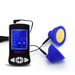 Estimulación eléctrica del pezón online-Electro Shock Bomba de succión Estimulación eléctrica Lechón Bombas de pezón Pechos Estimulador eléctrico Masaje Juguetes sexuales para parejas