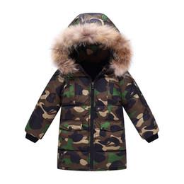 Los niños camuflan el abrigo de invierno online-Winter Children Boys Jackets Kids Boys Camouflage Down Hooded Fur Coat Outwear for Children Boys Winter Snowsuit Outfits