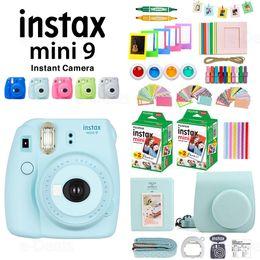 авто мини-камеры Скидка Instax Mini 9 Camera+40 Sheets Mini 9 Instant White Film Photo Paper+PU Case+Album+Color Filter+Close up Lens+Gift Set