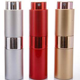 Atomizador rotativo online-15 ml de muestra vacía atomizador atomizador de vidrio botella de perfume aerosol rotatorio de aluminio envase de empaquetado cosmético LX1146