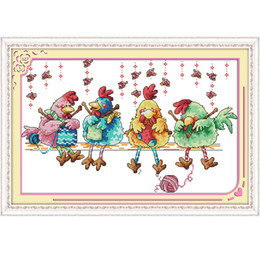 Wholesale Needlework Canvas - The chicken knitting a sweater Canvas DMC 11ct and 14ct Counted Chinese Cross Stitch Kits printed Cross-stitch set Embroidery Needlework