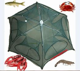 Canada Filet à poisson filet plié Portable hexagone 6 trous pêche automatique piège à crevettes filet de pêche poisson crevettes Minnow crabe appâts fonte piège Offre