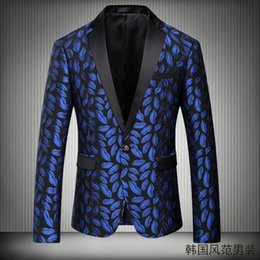 Wholesale Plus Size Wedding Separates - Black and Blue Designer Jacket Mens Wedding Suits Tuxedos Just One Piece Mens Suits Leopard Jacket Wedding Suits For Men In Stock