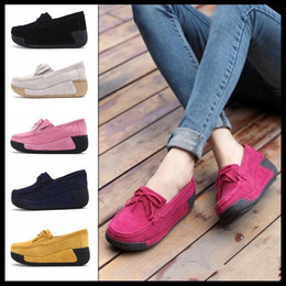 Wholesale red suede wedges - Suede Leather Walking Shoes Wedge Shake Shoes Fashion Platform Shoes Female Shake Women Platform Sneakers