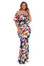 Canada Femmes Sexy Tropical Roses Imprimer Robe Volants Hors Épaule Maxi Dress Sans Bretelles Élégant D'été Robe De Plage Night Party Vestidos supplier elegant beach party dresses Offre