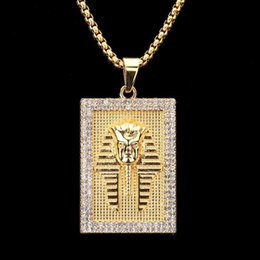Wholesale Egypt Crystal - 2018 New Arrival Gold Square Ancient Egypt Pharaoh King Men Crystal Personality Necklaces & Pendants Vintage Jewelry Men Women