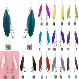 Wholesale Cute Lock Key - Feather Earrings 12 Colors wholesale lots Cute Key Lock Chain Light Dangle Eardrop Hot (White Black Gray Turquoise Yellow Deep Pink) (JF112)