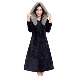 Wholesale Woman Sheep Coat - Sheep Shearing Overcoat Women 2017 Faux Fur Coat Female Hooded Jacket Long Winter Warm Lamb Fur Coats casaco feminino Z48