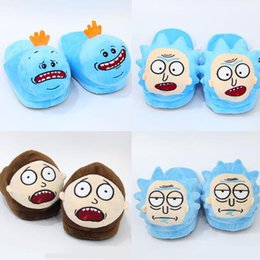 Wholesale Slipper Stuffed - 5 Styles 28cm Rick and Morty Mr. Meeseeks Morty Smith Rick Sanchez Plush Slippers Winter Indoor Shoes Soft Stuffed Toys CCA8421 30pair