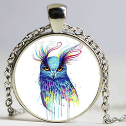Wholesale Owl Dresses For Women - Colorful Owl Pendant Choker Statement Silver Necklace For Women Dress Accessories-Abaicer Jewelry