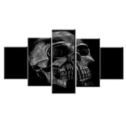 Decoración contemporánea online-Halloween Day Skull Canvas Wall Art Abstract Gold Print Home Decor para Living Room Contemporary HD Pictures 5 Paneles