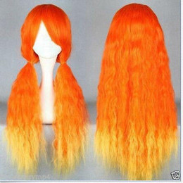 Wholesale Wig Orange Curly Long - NEW Lolita Long Curly Orange & Yellow Heat Resistant mix Party Wig