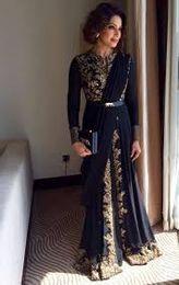Saudi Arabisch Abaya Abendkleider Für Indische Goldapplikationen Spitze Pakistan Prom Kleider Formale Party Langarm Vintage Boho Musselin abend von Fabrikanten