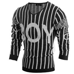 Wholesale Knitting Patterns Designer - Classic Mens Striped Sweater Pattern Letter V-Neck Casual Mens Jumpers Sweater Male Pullover Designer Mens Knitted Sweaters Black M-2XL