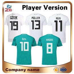 Wholesale Black Gold Promotions - 2018 Promotion World Cup Player Version 13 Muller Soccer Jersey Home Away 8 Kroos 10 Ozil 19 Gotze Shirt Athletics Football Uniforms