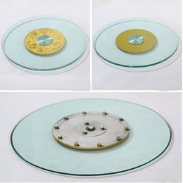 Wholesale Lazy Glasses - HQ GL01 Tempered Glass Top 70CM 80CM 90CM Lazy Susan with Glass Turntable Swivel Plate for Dining Table