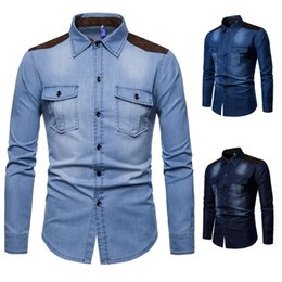 d18b61e99d9 Men s denim shirt patchwork design cotton denim shirts men s casual shirt  Dropshipping and Wholesale