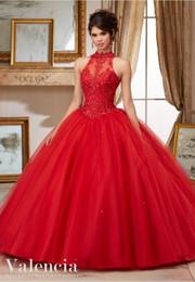 Vestidos Quinceanera Frisado Vermelho Vestidos De Quinceanera Vestidos De Gola Alta Doce 16 Lace Appliqued Vestidos De Baile Tutu Debutante Vestido