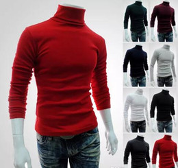 Wholesale Sweaters For Mens - Winter Autumn Mens Turtleneck Sweaters Black Pullovers Clothing For Man Cotton Knitted Sweater Male Sweaters Pull Hombre XXL