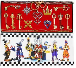 Wholesale Keychain Necklaces - Accessories Costumes Badge Kingdom Hearts Anime Cosplay Prop Necklace Pendants Keychain 13 Pieces Box New Arrival