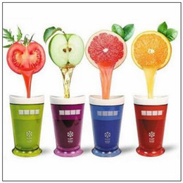 Wholesale wholesale smoothie cups - 5 Colors Creative New Fruits Juice Cup Fruits Sand Ice Cream Slush Shake Maker Slushy Milkshake Smoothie Cup CCA6315 50pcs