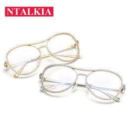 i telai di vetro all'ingrosso di moda Sconti Luxury Big Round Double Beams Strass Metallo Occhiali da vista Telaio per le donne Lenti trasparenti Diamante femminile Armacao Oculos de