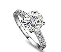 Quilates de oro 14k online-Anillo de oro 14K genuino Diseño bonito Brillante Ronda Anillo de diamante de 14 quilates Joyería de compromiso de oro blanco 14K Genuino 14K S923