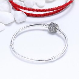 snakes 925 ring Canada - Original 925 Sterling Silver Moments Pave Clip Clasp Snake Chain Bracelets DIY Brand Logo Charms Beads Bracelet Jewelry