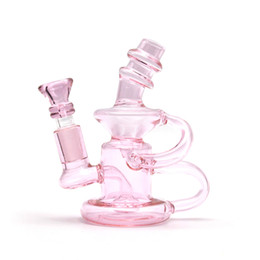 turbine bongs Promo Codes - Pink Clear Double Recycler Bong round bottom beaker bong dab rig curve bend Turbine Water Pipes Wax Dabber Bongs