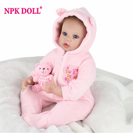 Wholesale Pink Doll Clothes - Silicone Reborn Dolls Toys For Children 22'' Handmade Pink Blue Clothes Soft Baby Alive Newborn Reborn For Sale Princess Doll
