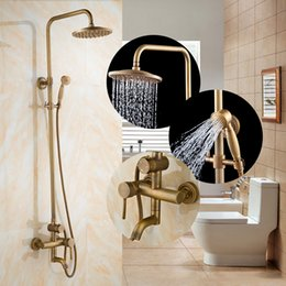 Wholesale Gold Shower Set - Vintage Home Bathroom Shower Set All Copper Gold Round Bathroom Rainfall Shower Head Set Product Antique Brass Shower decor