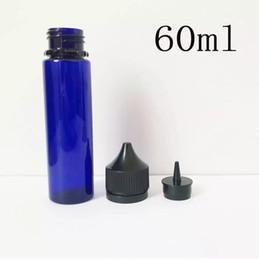blu e liquido Sconti Forma 50pcs Chubby Dropper Boles blu trasparente in plastica PET Boles 60ML Unicorn lungo contagocce Bole PET per E Liquid