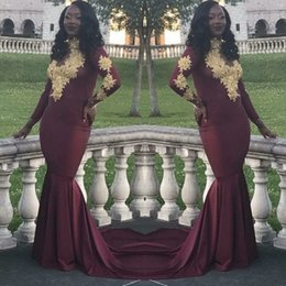 Wholesale Party Selling - Hot Sell Burgundy Prom Dresses Vintage Long Sleeves Gold Appliques Black Girls 2018 New Party Evening Wear Gowns Plus Size