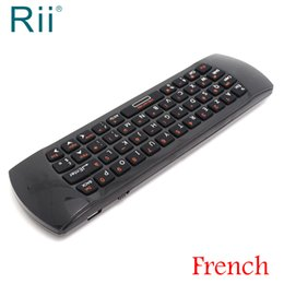 Wholesale quality wireless keyboard - [Free Shipping] Original Rii i25 2.4G Wireless French Version Mini Keyboard Air Mouse for Android TV PC High Quality