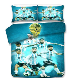 Wholesale Queen Size Comforters Sets - 2018 World Cups Soccer High Quality 3pcs Bedding Sets Sanding Polyester Colors Bed Sheet Queen King Size Pillow Covers Football Team
